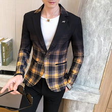 Cargar imagen en el visor de la galería, Fashion New Men's Blazer Gradient Check Slim Blazer Masculino 2020 Spring Men's Wedding Stage Party Formal Dress Suit Blazer Men