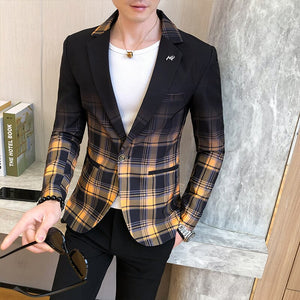 Fashion New Men's Blazer Gradient Check Slim Blazer Masculino 2020 Spring Men's Wedding Stage Party Formal Dress Suit Blazer Men
