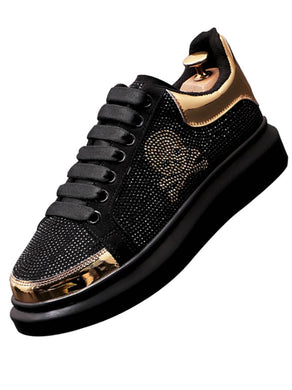 New Men's Luxury Designer Black Rhinestone Shoes Causal Flats Moccasins Male Thick Bottom Rock Hip Hop Crystal Sneakers