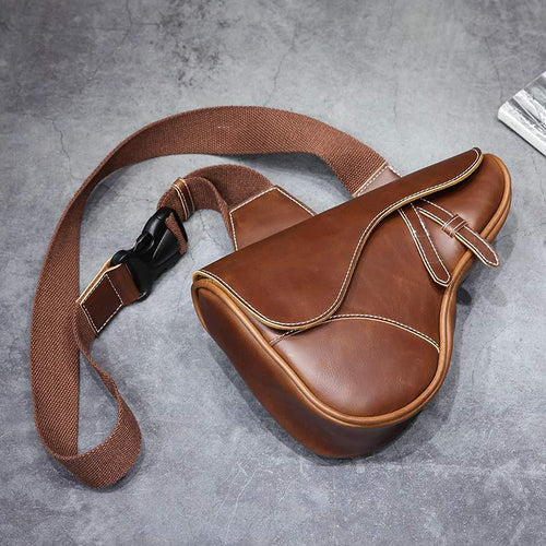 Chest Bag men Leather Men Shoulder Bag Gun shape Casual Brown Men Bag Cowhide Leather Men's Messenger Bag
