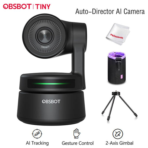 OBSBOT Tiny Webcam PTZ control Inteligencia artificial AI 1080p streaming. Plug & play. Lo nunca visto.