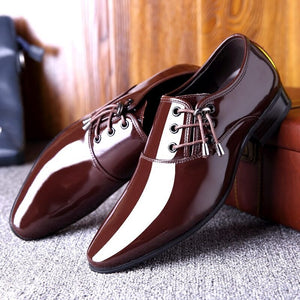 Height Increasing 6CM Formal Loafer Patent Leather Shoes Men Wedding Zapato Oxford Hombre  Italian Dress 2019 Pointed Toe Shoes