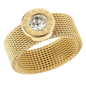 Stainless Steel Gold Ring Big Round Crystal Mesh Finger Ring Roman Numerals Rings for Women Men Fashion Brand Jewelry