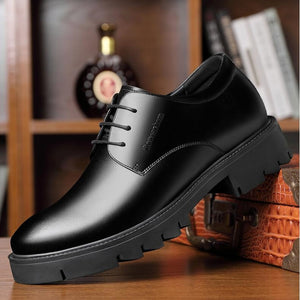 Brogue Formal Shoes Men Genuine Leather 8/10CM Elevator Shoes Men Business Shoes Scarpe Uomo Wedding Dress Oxford Man Shoe
