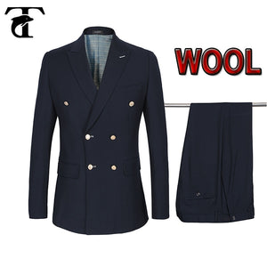 Double-breasted Men Suits 2020 Jacket Suit Terno 50% Wool Gold Buttons Costume Homme Blazers+Pants Casual Slim Fit Marriage Set
