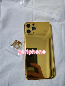 2020 hot sale 24k Mirror Gold Chassis Rear Door for phone 11 pro max Battery Housing Middle Frame with logo