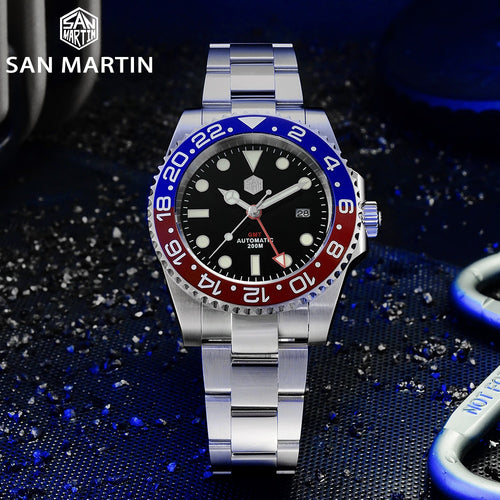 San Martin GMT Diver Luxury Sapphire Men Automatic Mechanical Watch 120 Clicks Ceramic Bezel 20Bar Waterproof Luminous Date