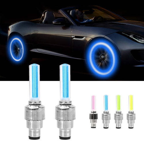 2PCS LED Light For Auto Car Wheel Motocycle Bike Tire Valve Cap Decorative Lantern Tire Valve CapFlash Spoke Neon Lamp