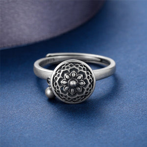 V.YA 100% 925 Silver Buddhist Ring for Women Tibetan Prayer Wheel Ring OM Mantra Ring Good Luck Women Ring