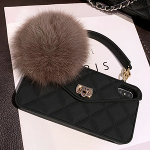 Luxurious Brand Portable with Fox Hairball Phone Case For IPhone 12 mini 12 Pro Max 11 Pro X XR XS Max 7 8 P For P30 40 Mate30 P