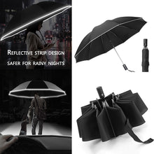 Cargar imagen en el visor de la galería, UV Folding Automatic Umbrella Rain Wind Resistant Trip Sun Umbrellas 10 Ribs Portable Reverse Umbrella Reflective Stripe
