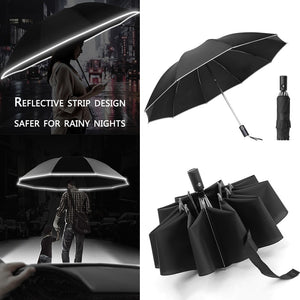 UV Folding Automatic Umbrella Rain Wind Resistant Trip Sun Umbrellas 10 Ribs Portable Reverse Umbrella Reflective Stripe