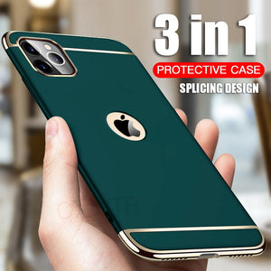 Luxury Gold Hard Case for iPhone 8 7 6 6s Plus 5 5s SE Back Cover Xs Max XR Removable 3 in 1 Fundas Case for iPhone 11 Pro Max