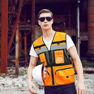 Reflective vest multi-pocket traffic patrol cars safety reflective vest tactical outdoor night work high visable clothing