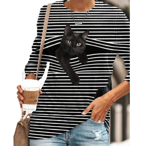 Striped Cat Print Fashion Casual Long-sleeved T-shirt Retro Classic Black White Striped O-neck Pullover Tops Women Street Tshirt
