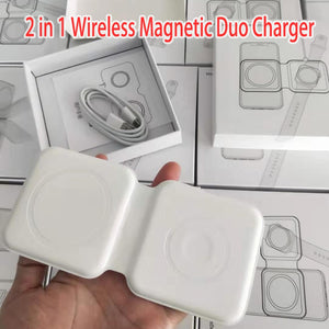 2 IN 1 Wireless Charger for Magnetic Duo Charger ,QC 3.0 PD Charging Standard for Samsung for IWatch for IPhone Fast Charging