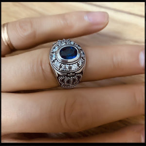 New S925 sterling silver ring exquisite crown ring inlay zircon jewelry exaggerated personality silver ring for men and women