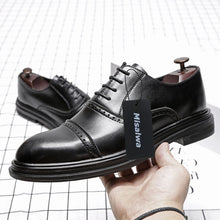 Cargar imagen en el visor de la galería, Misalwa Triple Joint Men Casual Dress Shoes Male Oxfords Office Shoes Men Wedding Party Leather Shoes Fashion British Style 2019