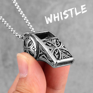 Whistle Vintage Long Men Necklaces Pendants Chain Punk for Boyfriend Male Stainless Steel Jewelry Creativity Gift Wholesale