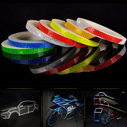 2020 Car Reflective Stickers Motorcycle Bicycle Reflector Safety Warning Rim Decal Tape Car Accessories 7 Colors