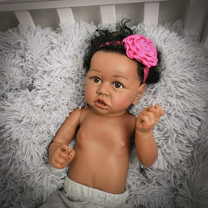 22'' Reborn Baby Dolls  55cm  Babies DOLL Newborn Realistic lifelike Toddler dolls with Crooked mouth full soft Silicone body