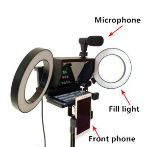 New Portable Prompter Smartphone Teleprompter for News Live Interview Speech for DSLR Cameras Mobile Phone with remote control