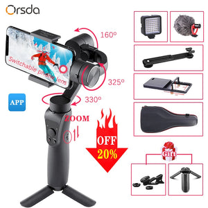 Orsda S5- S5B 3 Axis Handheld Stabilizer Gimbal Smartphone Active Track w/Focus Pull &Zoom Face Tracking For Phone Gopro Camera