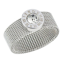 Cargar imagen en el visor de la galería, Stainless Steel Gold Ring Big Round Crystal Mesh Finger Ring Roman Numerals Rings for Women Men Fashion Brand Jewelry