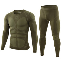 Cargar imagen en el visor de la galería, NEW Men Warm Thermal Underwear Set Long Sleeve Winter Fleece Slim Army Tactical Hiking Military Uniforms Clothes Top + Pants C