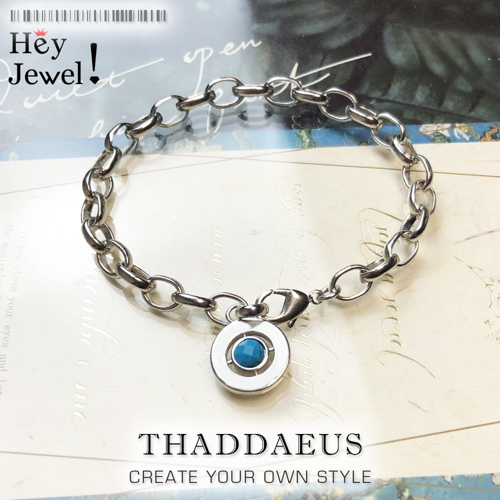 Blue Link Chain Charm Bracelets,2019 Autumn 925 Sterling Sliver Gift for Women Men,Europe Style Jewelry,Fashion Accessorie Club