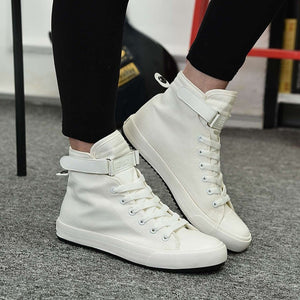 Hidden Heel 3/8CM Mens High Top Shoes 2019 Hot Sale Mens White Canvas Shoes Men Sneakers Breathable Casual Fashion Shoes