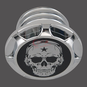 Universal Motorcycle Chrome Music Skull Fuel Gas Oil Tank Cap Cover Fits  For Harley Sportster XL 883 1200 96-14
