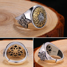 Cargar imagen en el visor de la galería, ZABRA 925 Sterling Silver Spin Ring For Men Women Open Size 2 Choices Buddha Six Words Signet Ring Vintage Rock Jewelry