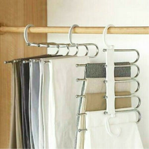 2019 Newest Fashion 5 in 1 Pant rack shelves Stainless Steel Clothes Hangers Multi-functional Wardrobe Magic Hanger