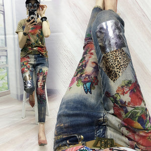 Denim Pants Painted Bronzing Jeans Woman 2020 Spring Autumn New Women Ins Super Fire Fashion Printing Jeans Female Trousers