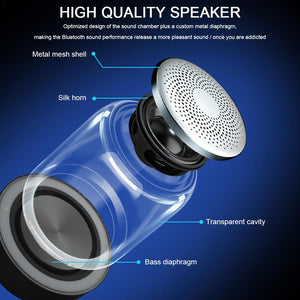 TWS 6D Surround C7 Bluetooth V5.0 Wireless Speakers HiFi Stereo Column Portable Speaker Romantic Colorful Light With Microphone