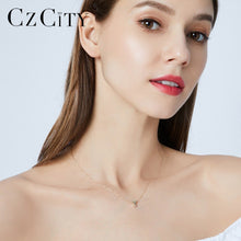Cargar imagen en el visor de la galería, CZCITY Genuine 14K Gold Petite CZ Initial Letter Pendant Necklaces for Women Unique A-Z Letter Necklace Jewelry Gifts