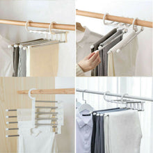 Cargar imagen en el visor de la galería, 2019 Newest Fashion 5 in 1 Pant rack shelves Stainless Steel Clothes Hangers Multi-functional Wardrobe Magic Hanger
