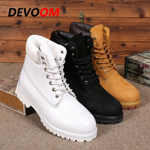 Fashion White Boots Men 2018 Men Genuine Dr Leather Boots Footwear Snow Boots Men Winter Shoes Real Leather Fur Unisex Sneakers