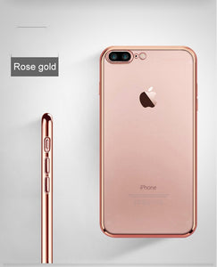 Cell Phone Case for iPhone 6 iPhone 6S iPhone 7 8 Plus iPhone 5S 5 s SE 5SE X 10 XR XS Max Silver Rose gold Silicone Clear Cover