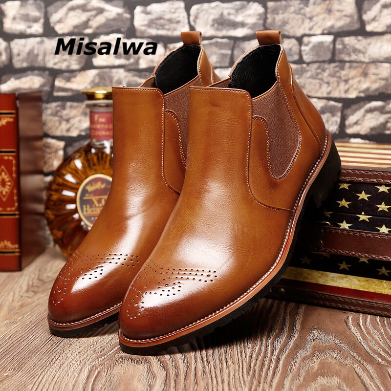 Misalwa Casual Oxford Style Men Chelsea Boots Spring Autumn Winter Fashion Ankle Boots Mens Formal Dress Shoes 37-44