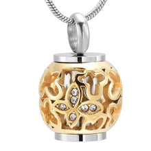 "Cargar imagen en el visor de la galería, KLH9959 Classic Gold Flower Bead Hold Tube""Always In My Heart""Cremation Jewelry Keepsake Memorial Urn Necklace Pet Ash Holder"