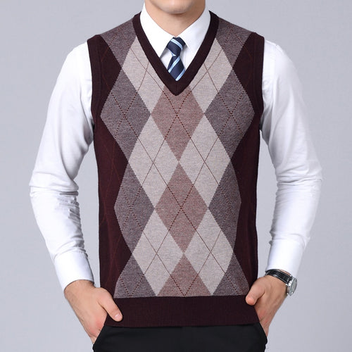 2020 New Fashion Brand Sweaters Mens Pullovers V Neck Slim Fit Jumpers Knit Sleeveless Autumn Korean Style Casual Men Clothes