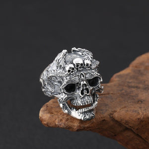 Wholesale S925 Sterling Silver Vintage Thai Siver Rock&Punk Style Domineering Skull Men's Ring Locomotive Open Ended Ring
