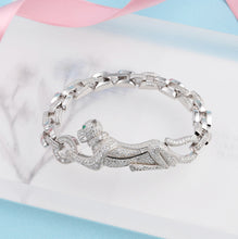 Cargar imagen en el visor de la galería, Hot Brand Pure 925 Sterling Silver Jewelry For Women Panther Bangle Full Stone Leopard Bangle Wedding Jewelry Big Chain Bracelet