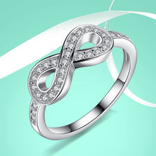 Cargar imagen en el visor de la galería, ELESHE Original 925 Sterling Silver 8-Shaped Bowknot Infinity Finger Rings Micro CZ Crystal Rings for Women Wedding Jewelry Gift