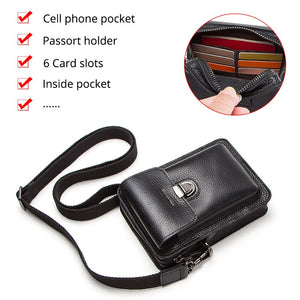 Contact's Genuine Leather Waist Packs Men Phone Bags with Passport Holder Messenger Shoulder Bag for Man Travel Belt Bag Small