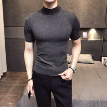 Cargar imagen en el visor de la galería, MRMT 2019 Brand Men's Sweater Pure Color Short Sleeves  Semi High Necked Pullover for Male Sweater Tops