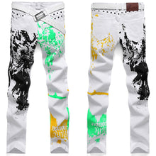 Cargar imagen en el visor de la galería, 2018 fashion stylish cool mens pants jeans with print graffiti painted denim slim fit white jeans men hip hop rock street wear