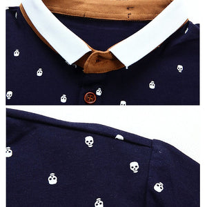 MIACAWOR New Polo shirt Men 95% Cotton Summer Shirt Short-sleeve Poloshirts Fashion Skull Dots Print Camisa Tops Tees MT437